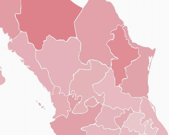Mapa de tase d deefunciones de mujeres por tumor maligno de mama en México, 2010 a 2015