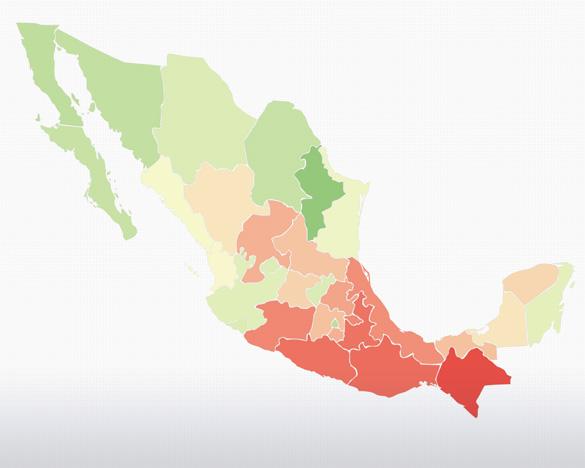 Mapa del porcentaje de la población en Pobreza en México
