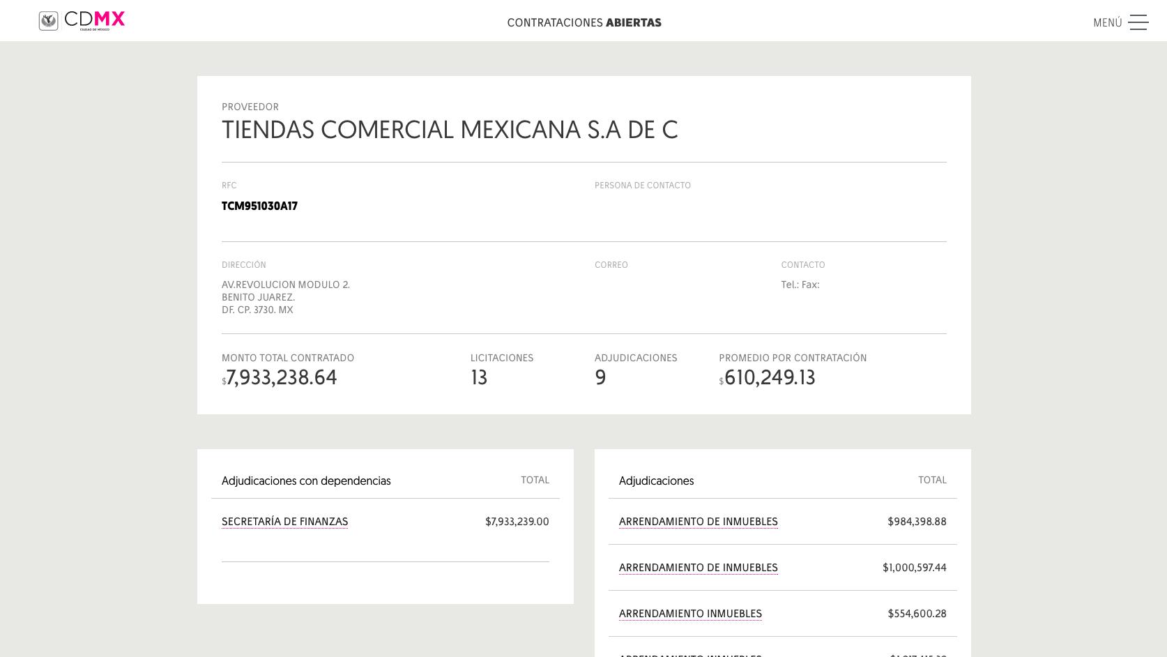 Contrataciones Abiertas de la CDMX: Proveedor